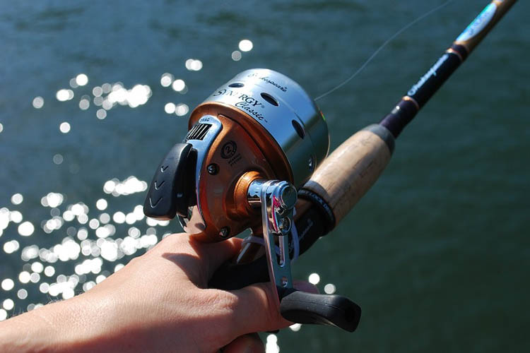 Picture of push button reel in hand.