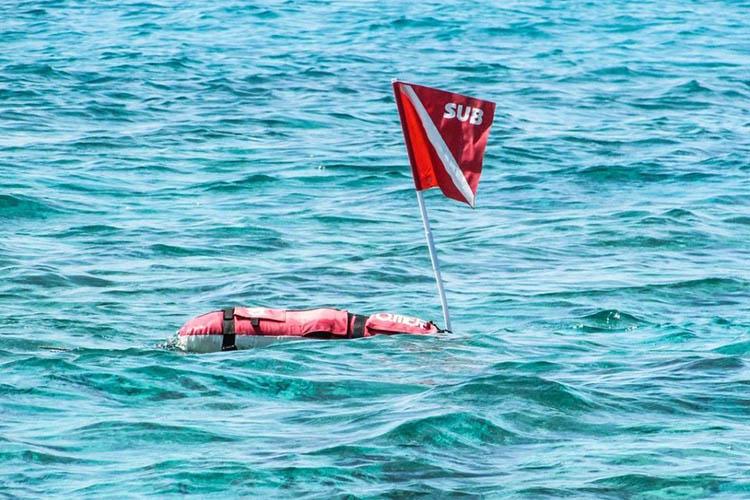 Floating dive flag.