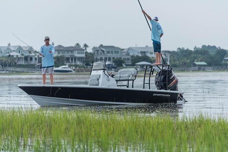 Men fly fishing in Sportsman 214 Bay Boat.