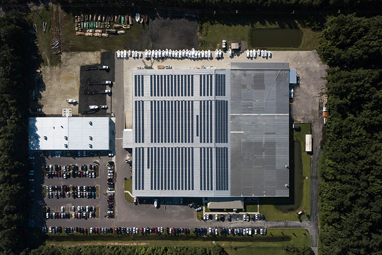 Aerial shot of Sportsman Boats' plant in Summerville, South Carolina