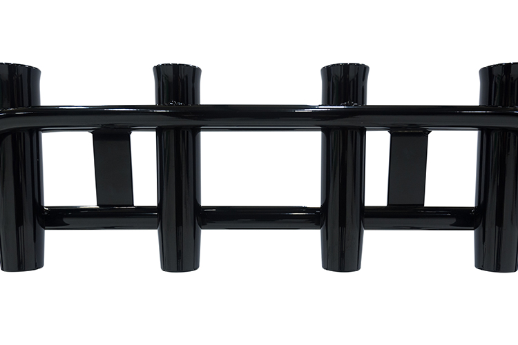 Photo of a leaning post powder coated in the black color.