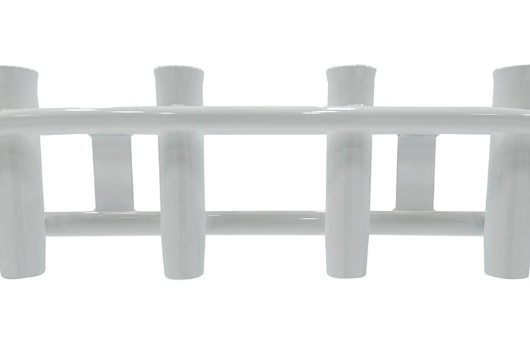 Photo of a leaning post powder coated in the white color.