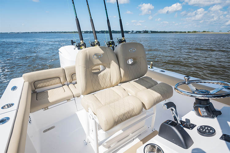The brand new Sportsman Heritage 241 center console upgraded dual chair leaning post