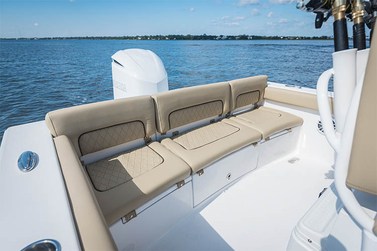 The brand new Sportsman Heritage 241 center console edge to edge seating arrangement for 4 adults with total access hatch
