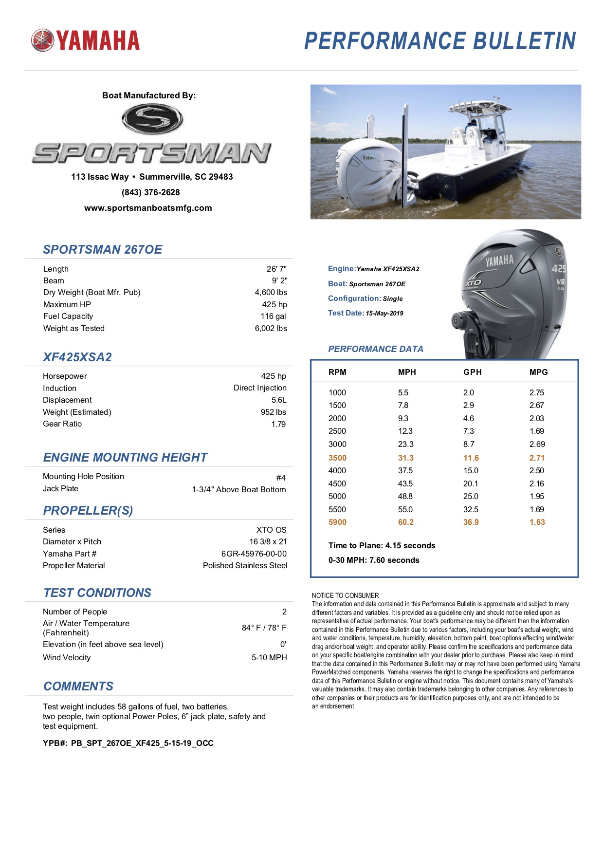 Performance bulletin for 267oe-bay-boat