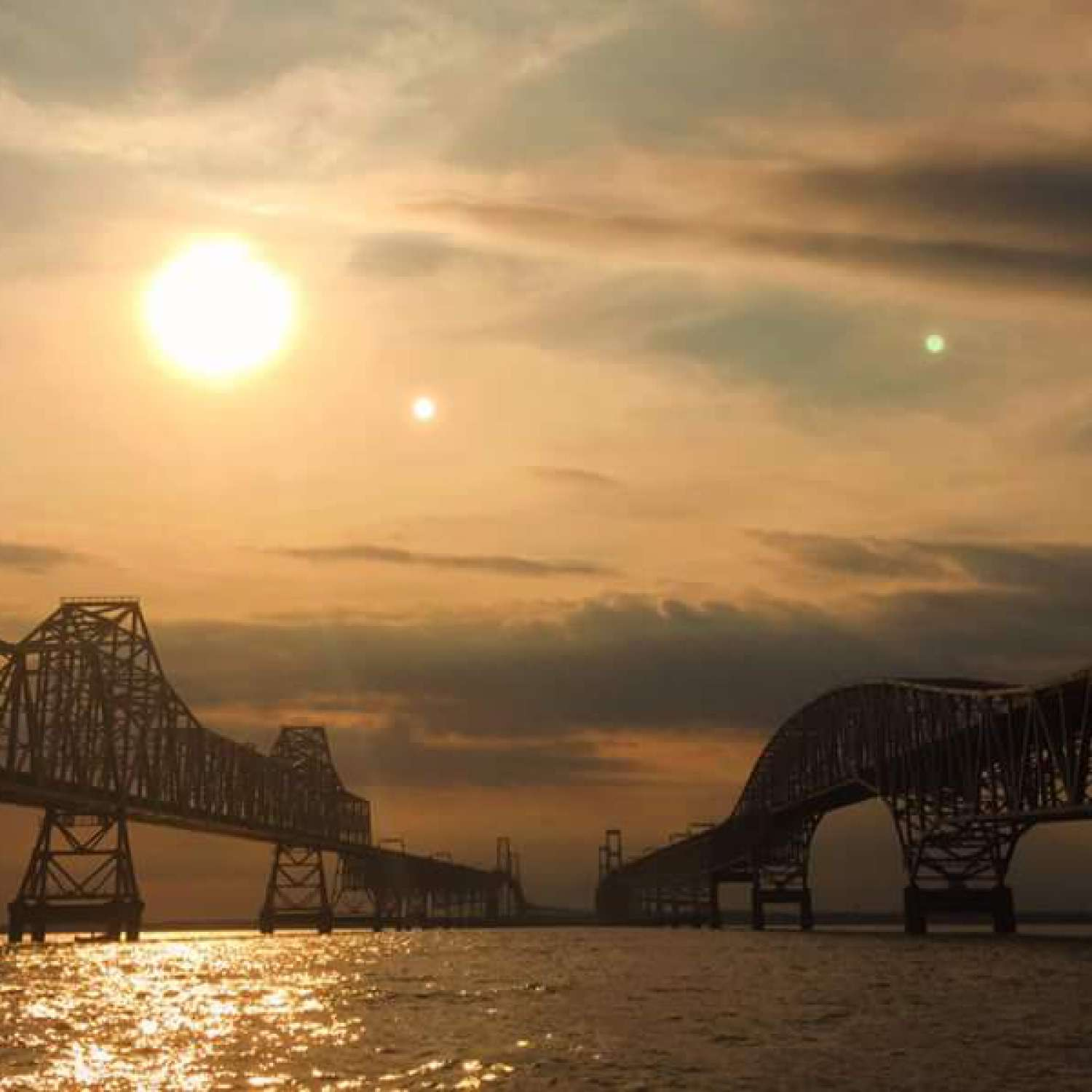 Title: Bay Bridge Sunset - On board their Sportsman Open 252 Center Console - Location: Grasonville, Maryland. Participating in the Photo Contest #SportsmanDecember2015