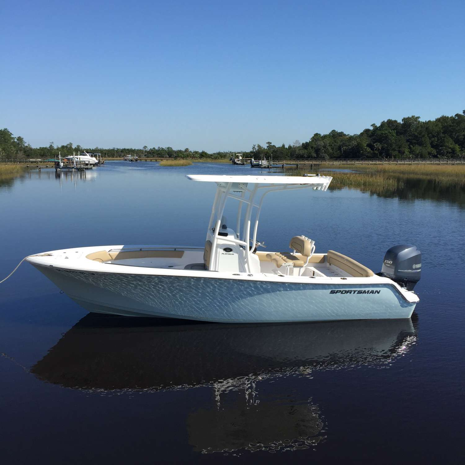 Title: Wagner Creek - On board their Sportsman Heritage 211 Center Console - Location: Mt Pleasant, South Carolina. Participating in the Photo Contest #SportsmanNovember2015