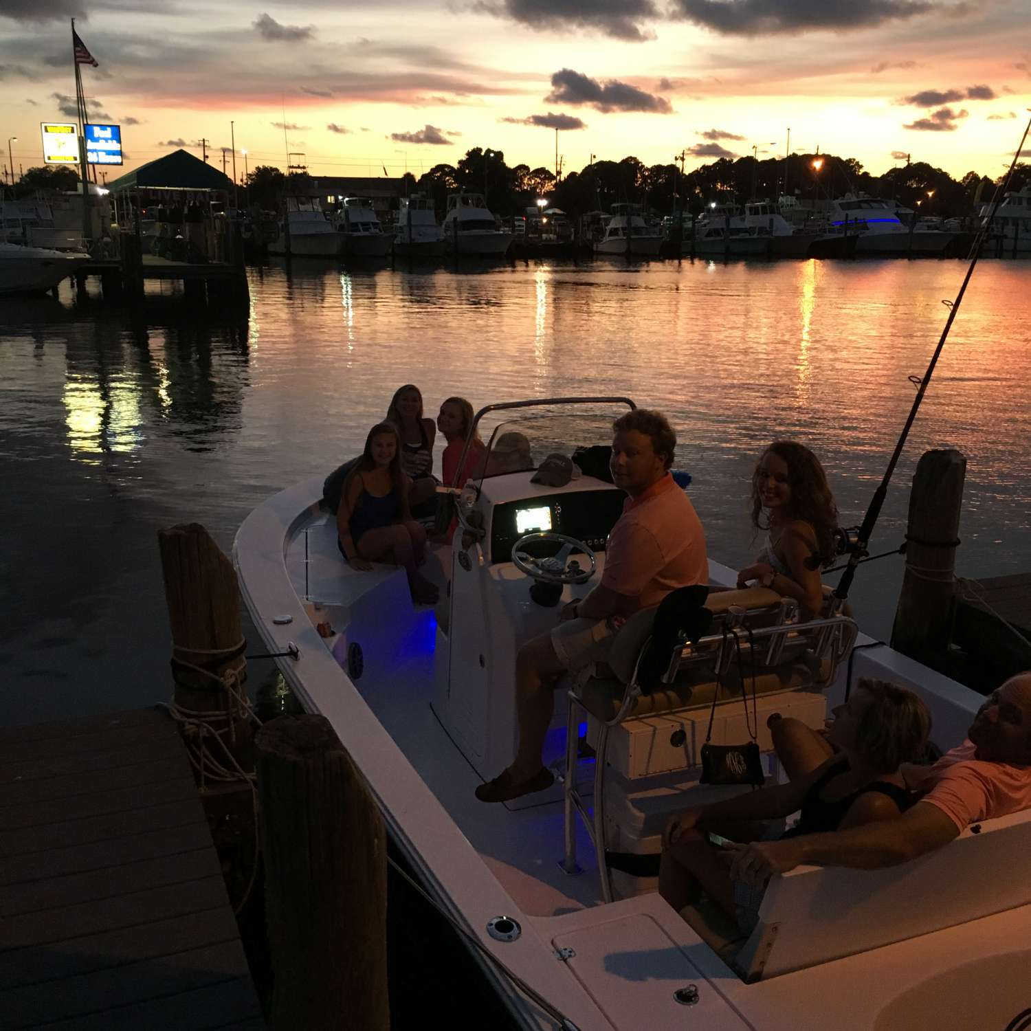 Title: Watching The Sunset At Treasure Island Marina - On board their Sportsman Masters 227 Bay Boat - Location: Hahira, Georgia. Participating in the Photo Contest #SportsmanAugust2016