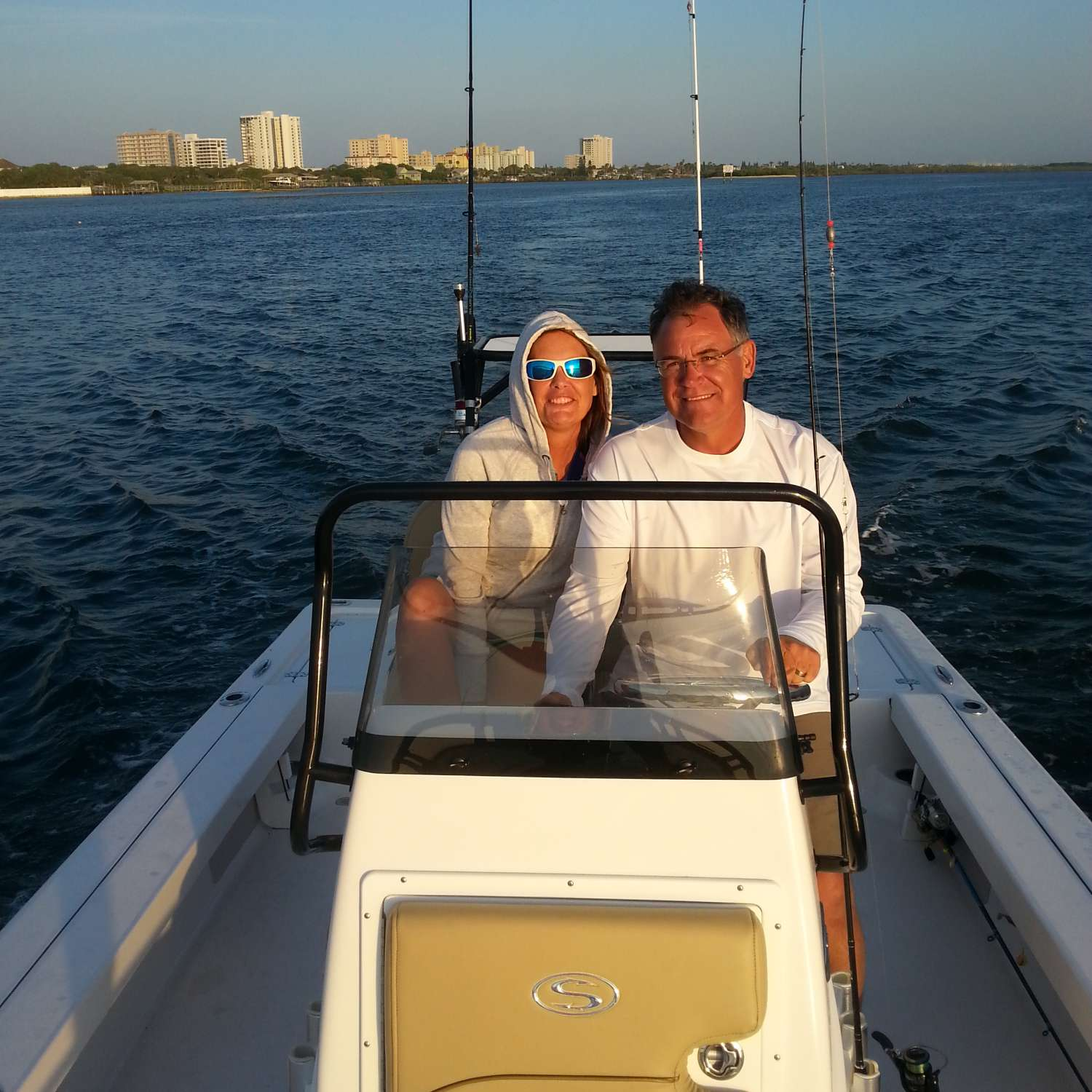 Title: Enjoying Our Day - On board their Sportsman Tournament 214 Bay Boat - Location: Port Orange, Florida. Participating in the Photo Contest #SportsmanMarch2016