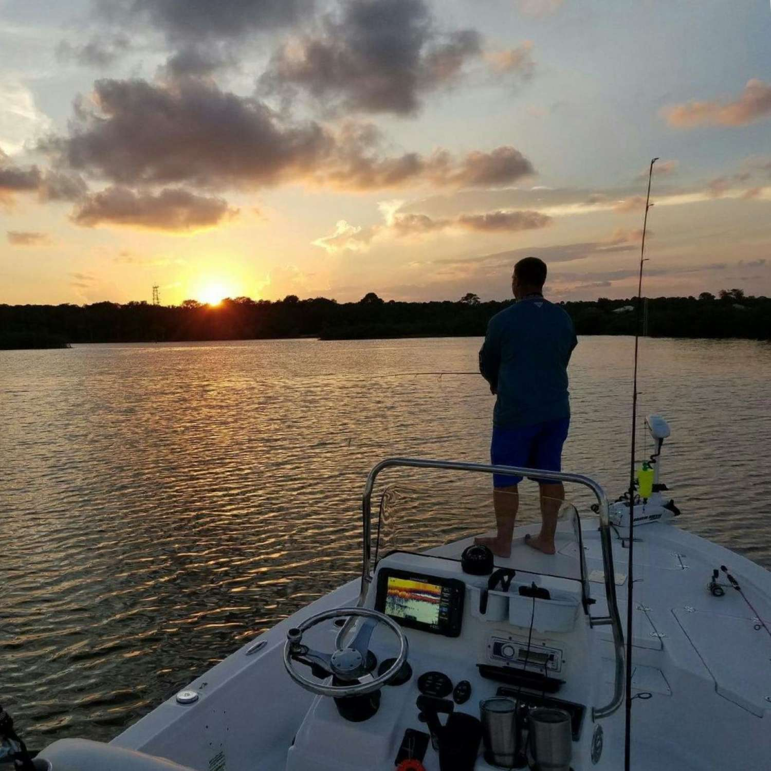 Title: Fishing In The Dark - On board their Sportsman Tournament 214 Bay Boat - Location: Ormond Beach, Florida. Participating in the Photo Contest #SportsmanNovember2016