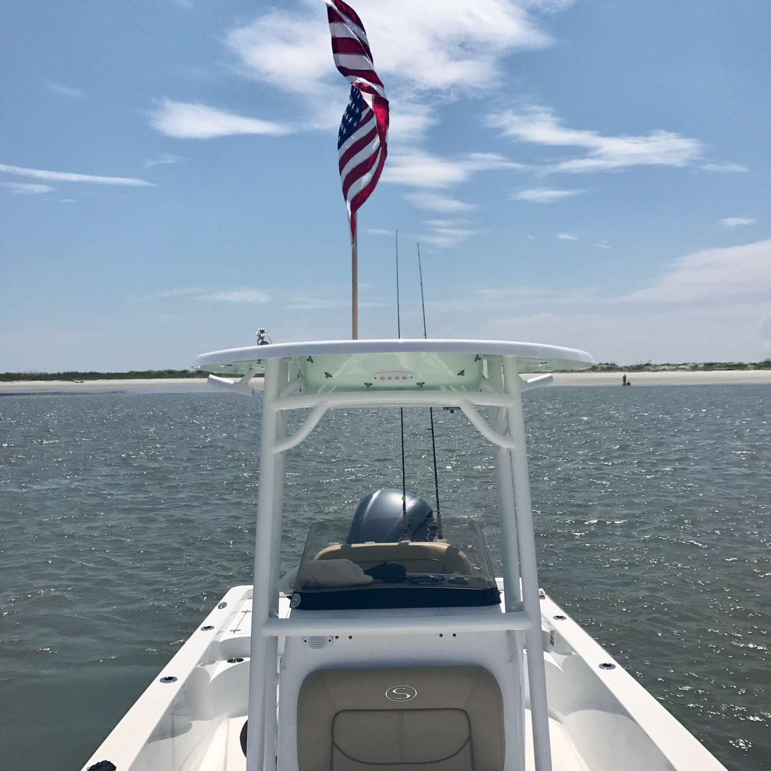 Title: Merica - On board their Sportsman Masters 247 Bay Boat - Location: Greer, South Carolina. Participating in the Photo Contest #SportsmanAugust2017