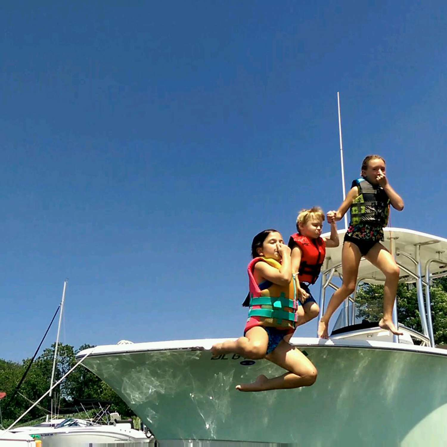 Title: 1,2,3! - On board their Sportsman Open 232 Center Console - Location: Blackwood, New Jersey. Participating in the Photo Contest #SportsmanAugust2017