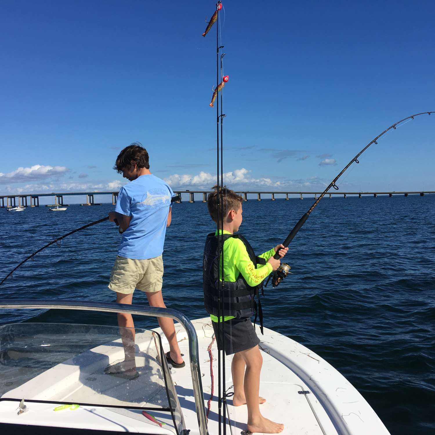 Title: Boys With A Double Hook Up On Bulls - On board their Sportsman Masters 207 Bay Boat - Location: Gulf Breeze, Florida. Participating in the Photo Contest #SportsmanFebruary2017