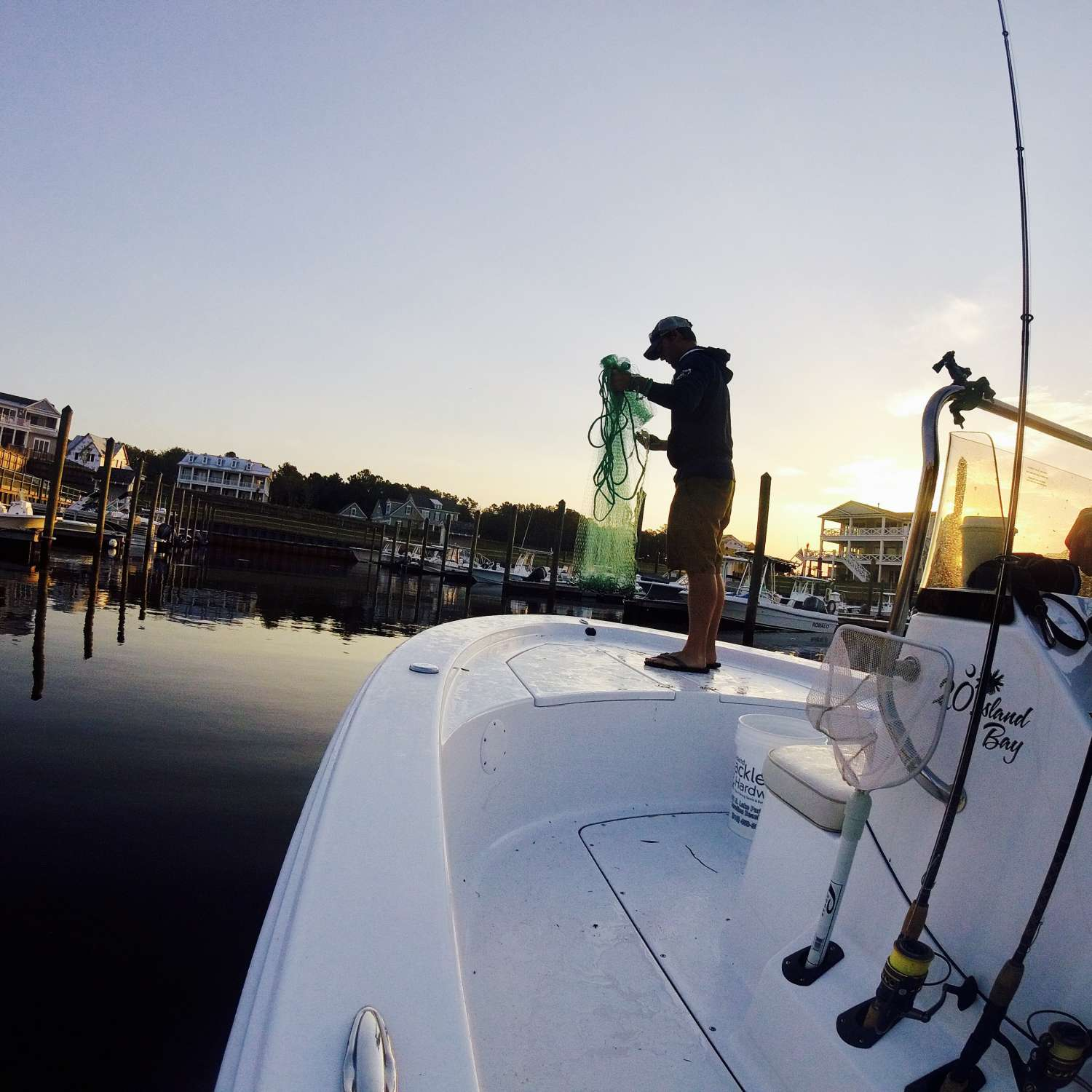 Title: Early Morning Bait Grind - On board their Sportsman Island Bay 20 Bay Boat - Location: Wilmington, North Carolina. Participating in the Photo Contest #SportsmanJune2017