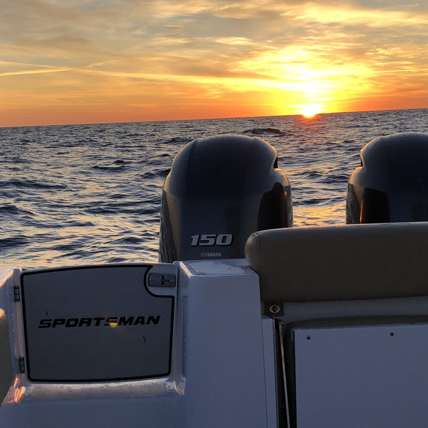 Title: Sunrise Offshore - On board their Sportsman Open 252 Center Console - Location: Jacksonville Florida 40 miles offshore. Participating in the Photo Contest #SportsmanApril2018