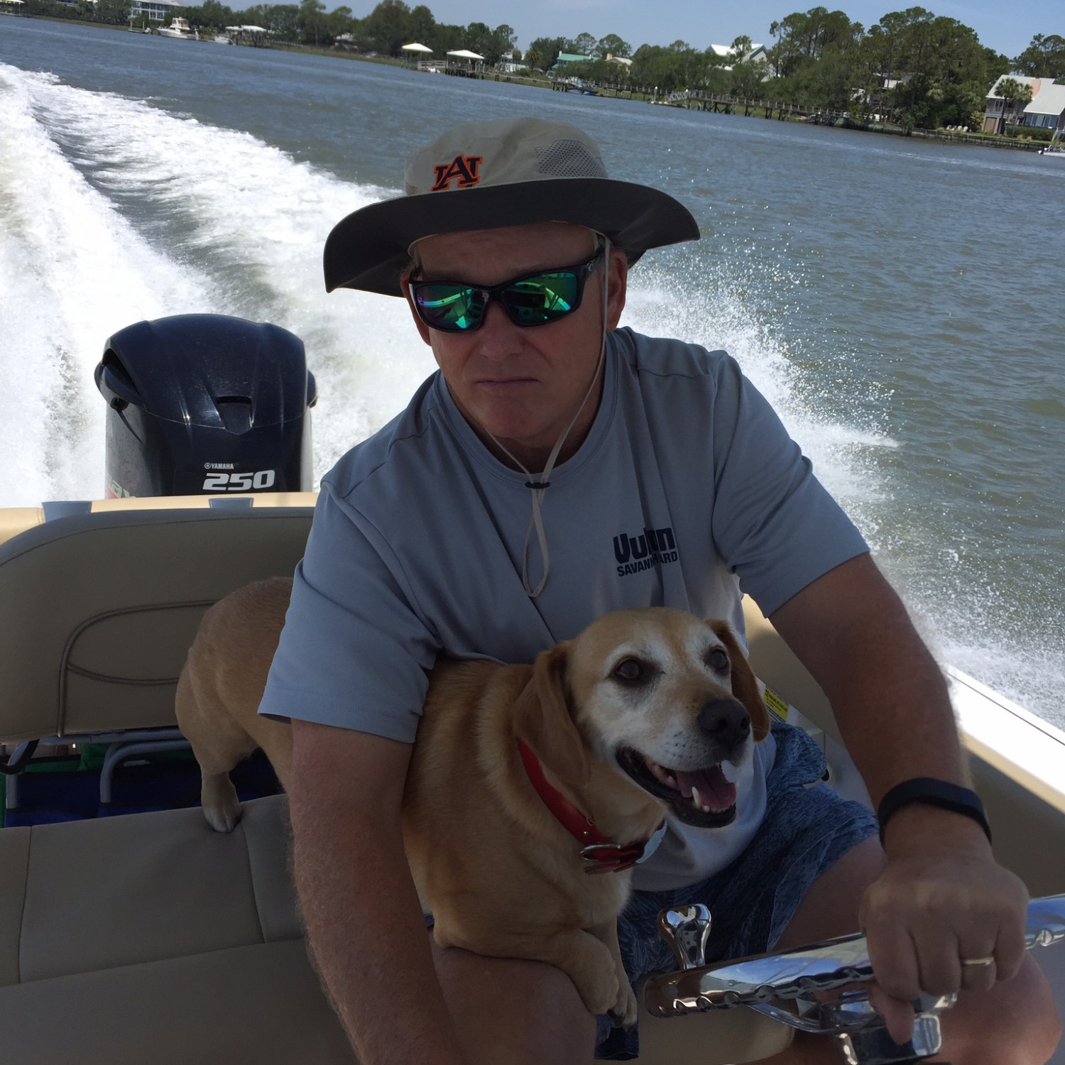 Title: Out with the dog! - On board their Sportsman Heritage 231 Center Console - Location: Tybee, GA. Participating in the Photo Contest #SportsmanApril2018