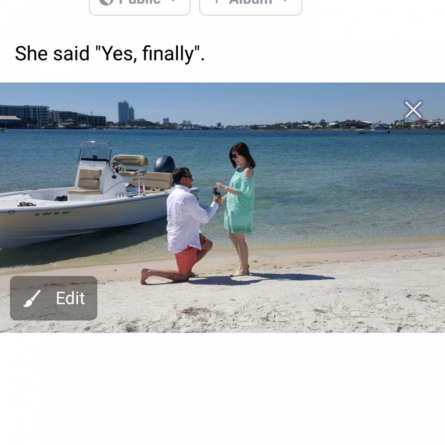 Title: She said yes - On board their Sportsman Tournament 214 Bay Boat - Location: Orange Beach, Alabama. Participating in the Photo Contest #SportsmanApril2018