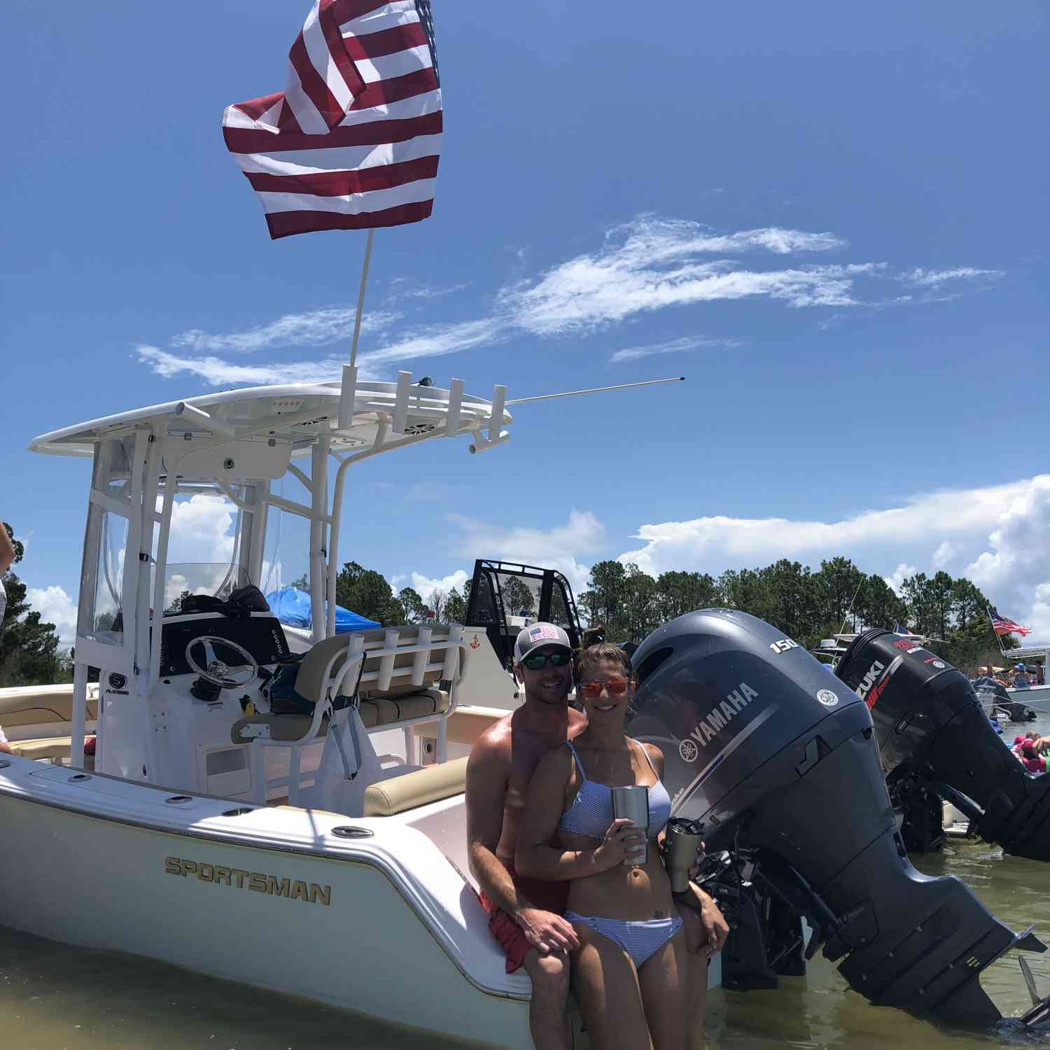 Title: New Boat, New Wife, God bless America - On board their Sportsman Heritage 211 Center Console - Location: Jacksonville, FL. Participating in the Photo Contest #SportsmanAugust2018