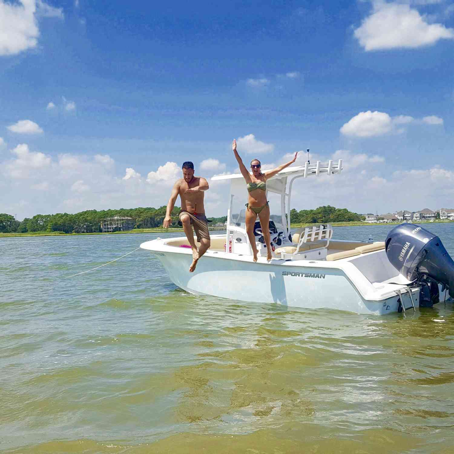 Title: Jump! - On board their Sportsman Heritage 231 Center Console - Location: Ocean city, Maryland. Participating in the Photo Contest #SportsmanAugust2018