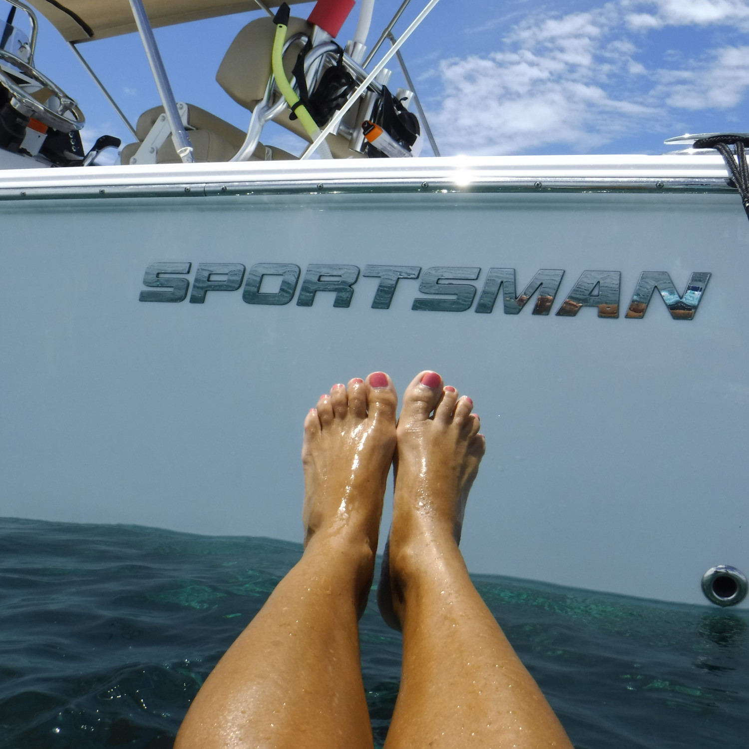 Title: Chillaxing in the Atlantic 6 miles south of Cudjoe Key, in Florida - On board their Sportsman Masters 227 Bay Boat - Location: 6 miles off shore in Cudjoe Key - Atlantic side. Participating in the Photo Contest #SportsmanFebruary2018