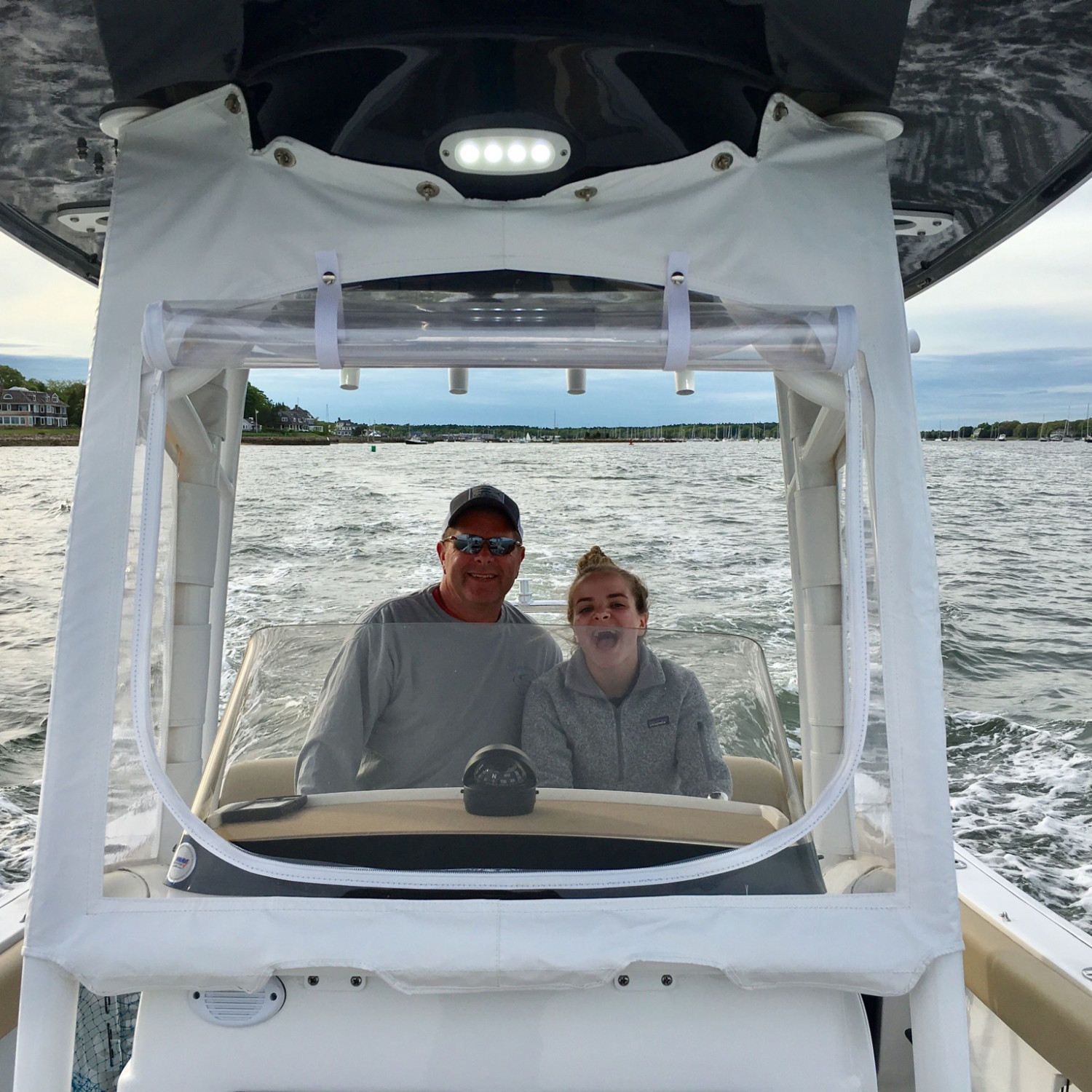 Title: Dad /daughter  Time - On board their Sportsman Open 232 Center Console - Location: Marion, MA. Participating in the Photo Contest #SportsmanFebruary2018