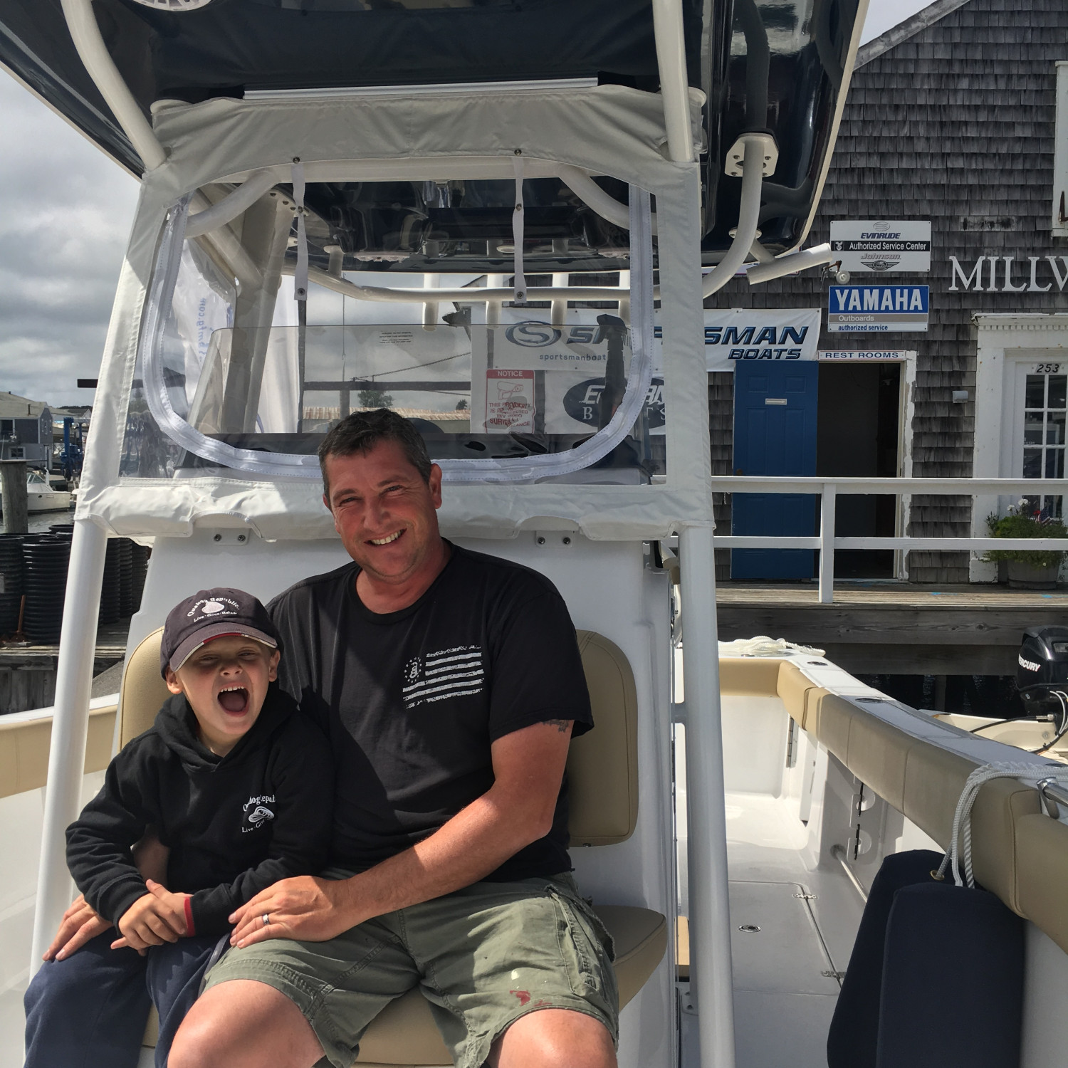 Title: Me and my boy - On board their Sportsman Open 282 Center Console - Location: Millway Marina, Barnstable, MA. Participating in the Photo Contest #SportsmanJanuary2018