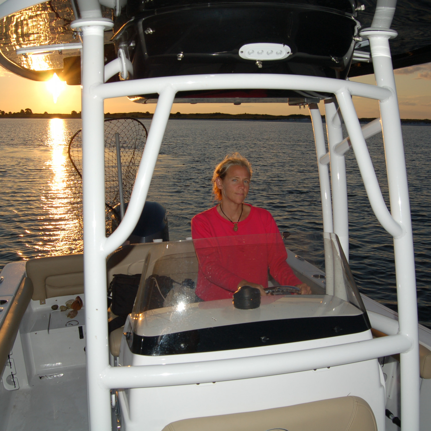 Title: Cynthia Lanzo - On board their Sportsman Heritage 231 Center Console - Location: Port St. Joe,Fl.. Participating in the Photo Contest #SportsmanJanuary2018