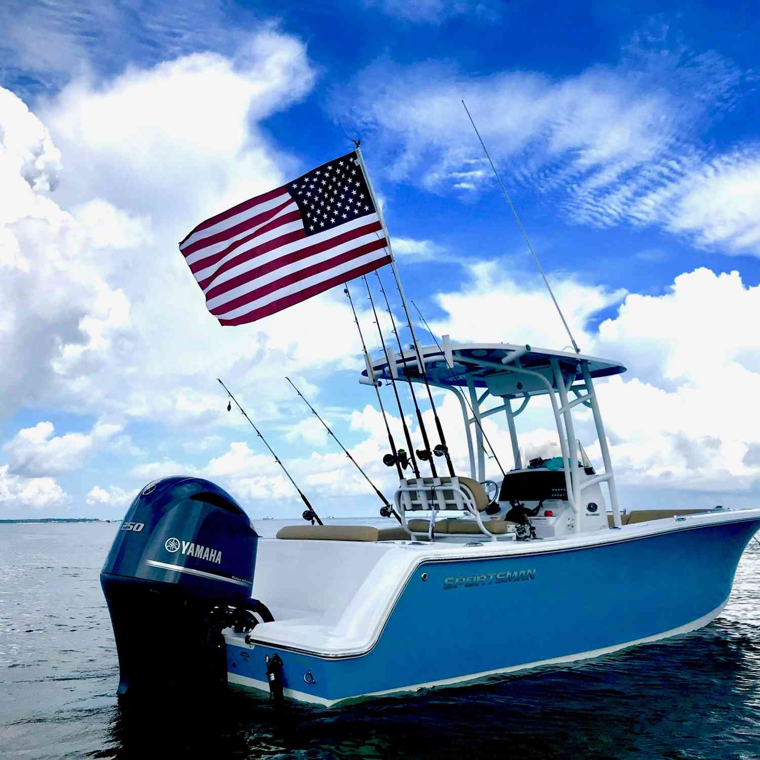 Title: Ol Glory Flying - On board their Sportsman Open 232 Center Console - Location: Baldwin, Al. Participating in the Photo Contest #SportsmanJuly2018