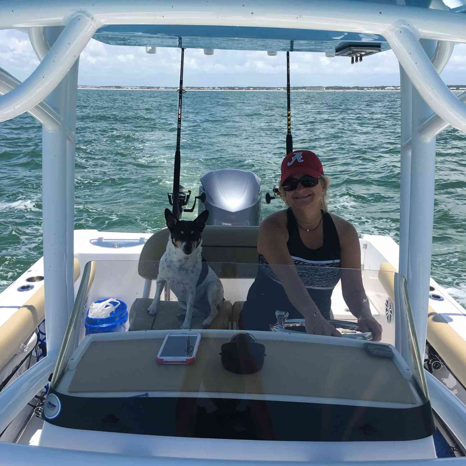 Title: Teresa and Abby enjoy the ride - On board their Sportsman Open 232 Center Console - Location: Mexico beach fla. Participating in the Photo Contest #SportsmanJuly2018
