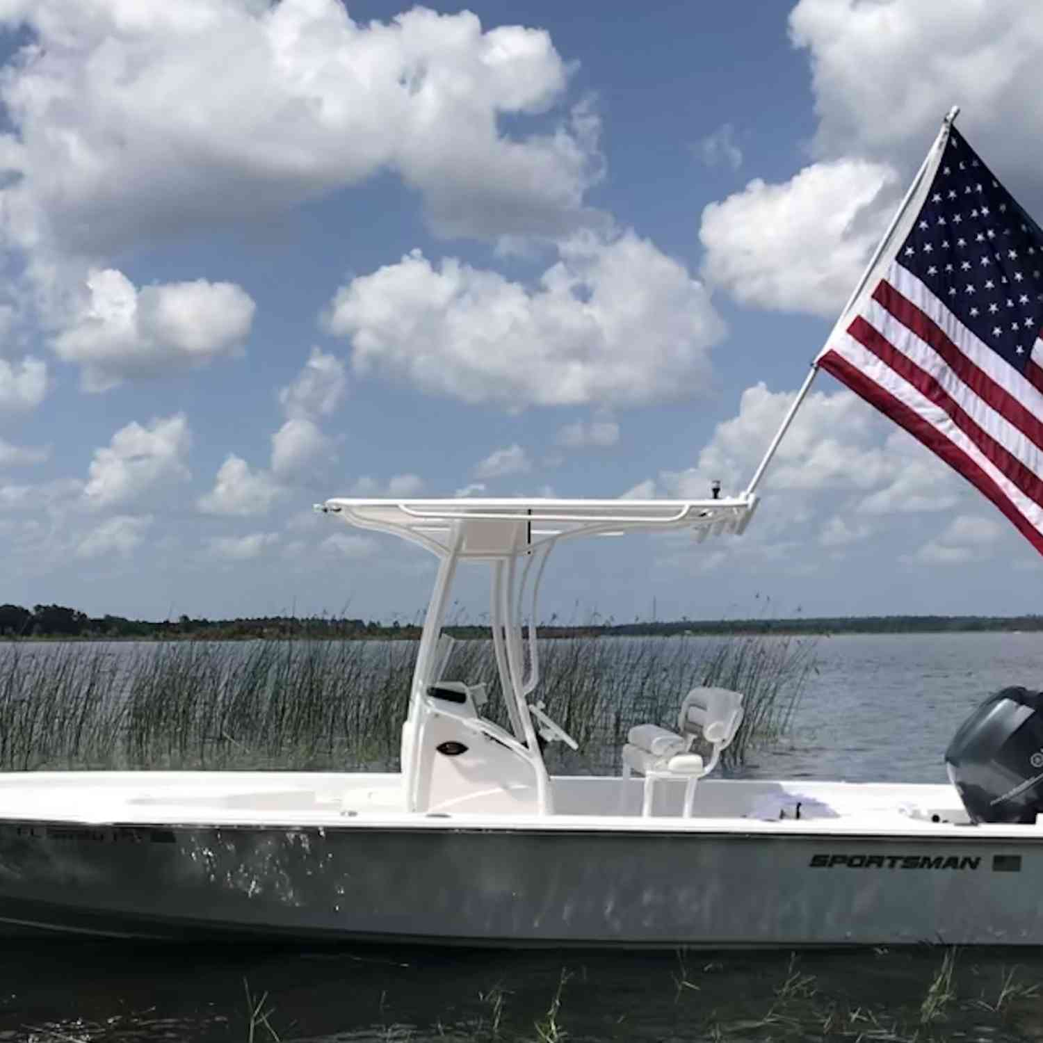 Title: Made in the USA!! - On board their Sportsman Masters 227 Bay Boat - Location: Lake Kerr, Ocala, FL. Participating in the Photo Contest #SportsmanJuly2018