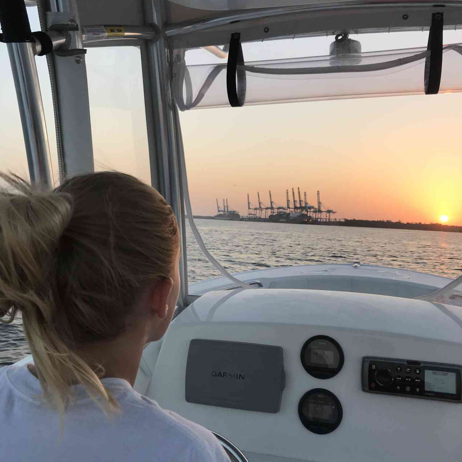 Title: Sunrise with my sweetheart - On board their Sportsman Heritage 231 Center Console - Location: Daniel Island SC. Participating in the Photo Contest #SportsmanJuly2018
