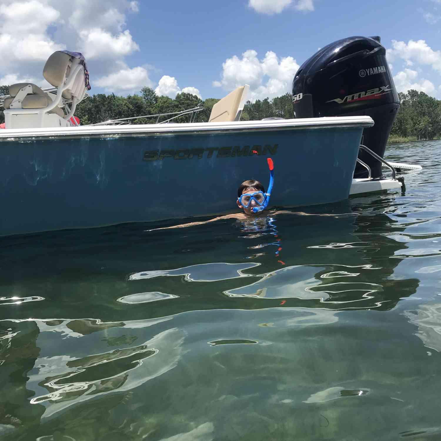 Title: Snorkeling fun - On board their Sportsman Masters 247 Bay Boat - Location: Salt springs, Fl. Participating in the Photo Contest #SportsmanJuly2018