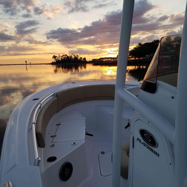 Title: Sunrise Over Bull Island - On board their Sportsman Open 232 Center Console - Location: Poquoson, Virginia. Participating in the Photo Contest #SportsmanJune2018