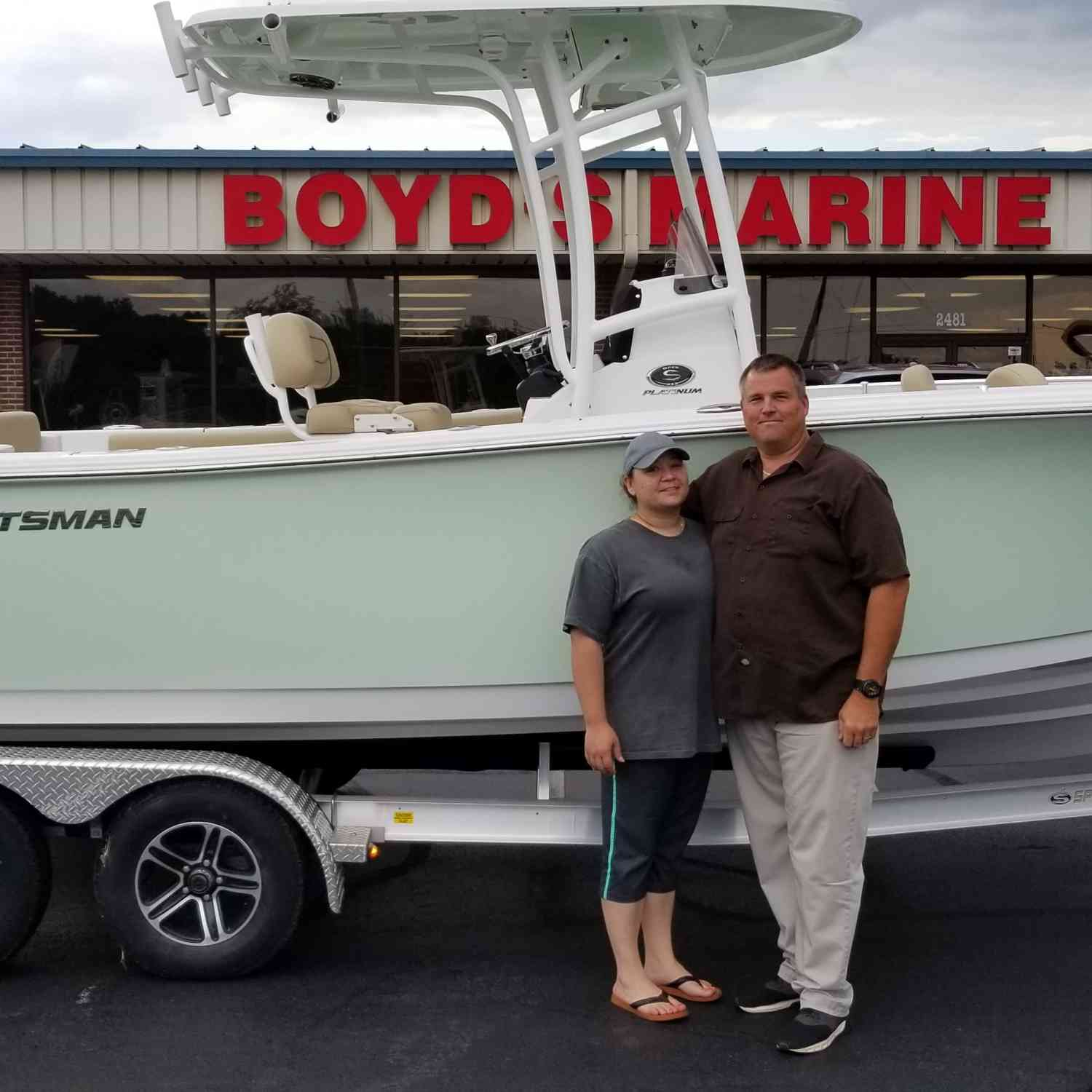 Title: New Family Member - On board their Sportsman Open 232 Center Console - Location: Boyds Marine,  Dothan Alabama. Participating in the Photo Contest #SportsmanJune2018