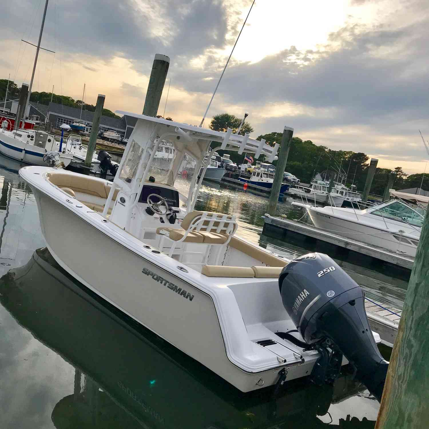 Title: Evening calm at Allen Harbor - On board their Sportsman Open 232 Center Console - Location: Harwich, MA. Participating in the Photo Contest #SportsmanJune2018