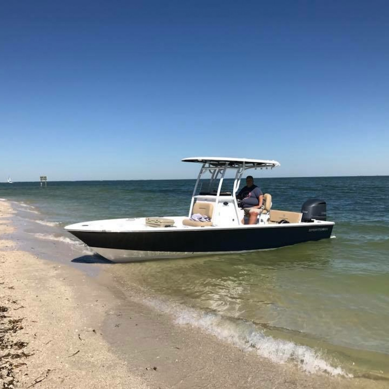 Title: On the beach - On board their Sportsman Masters 247 Bay Boat - Location: Cayo Costa State Park, SW Florida. Participating in the Photo Contest #SportsmanMarch2018