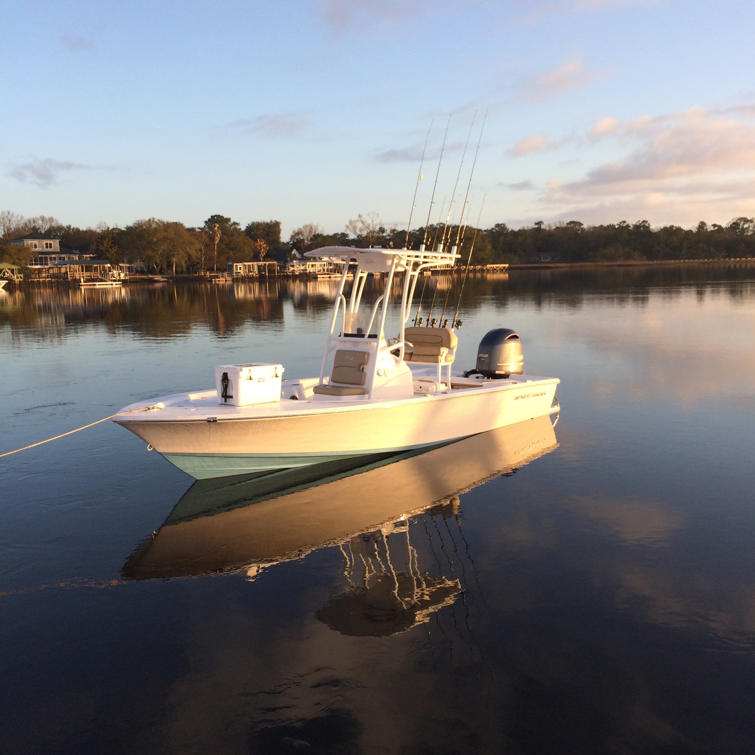 Title: Morning reflection - On board their Sportsman Masters 207 Bay Boat - Location: Charleston, SC. Participating in the Photo Contest #SportsmanMarch2018