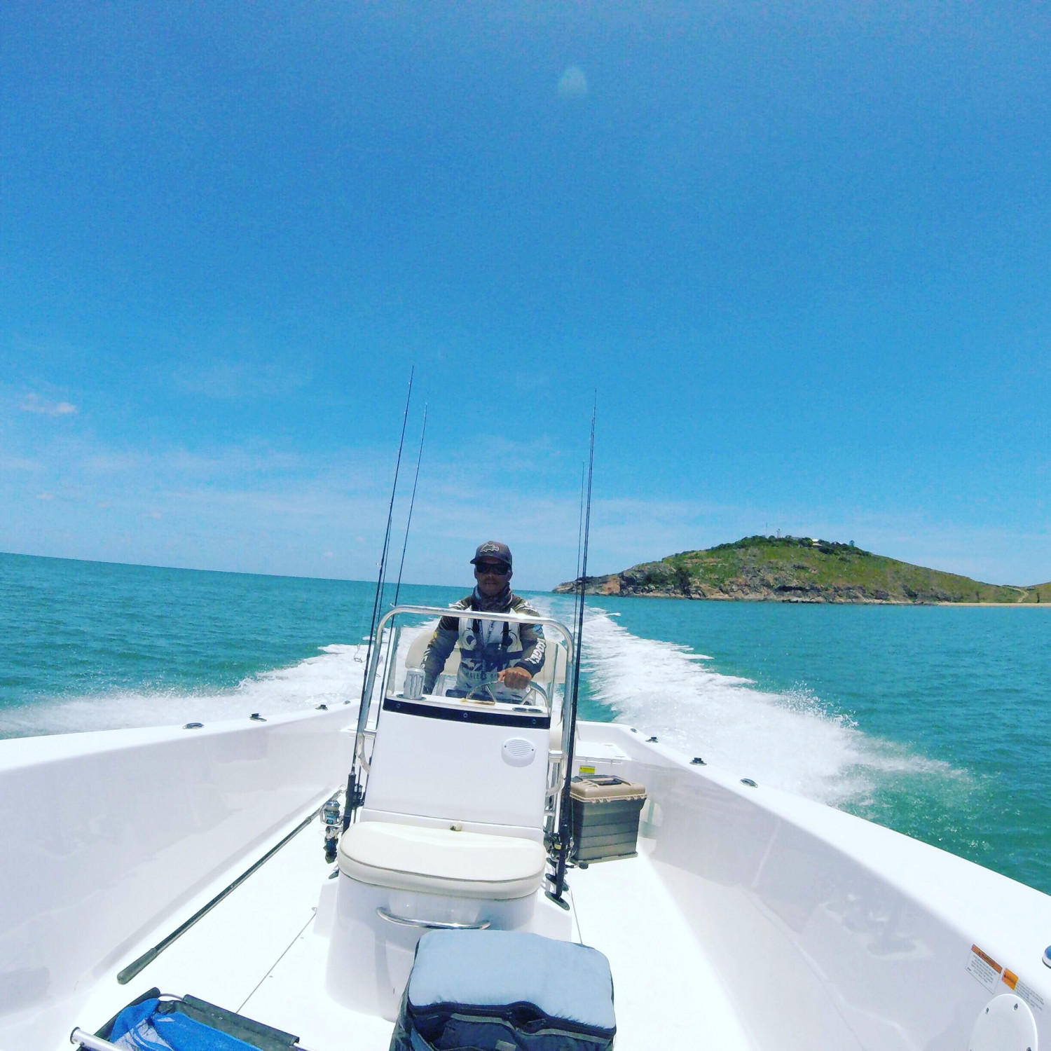 Title: Letting the horses fly! - On board their Sportsman Island Reef 19 Center Console - Location: Townsville North Queensland Australia. Participating in the Photo Contest #SportsmanMarch2018