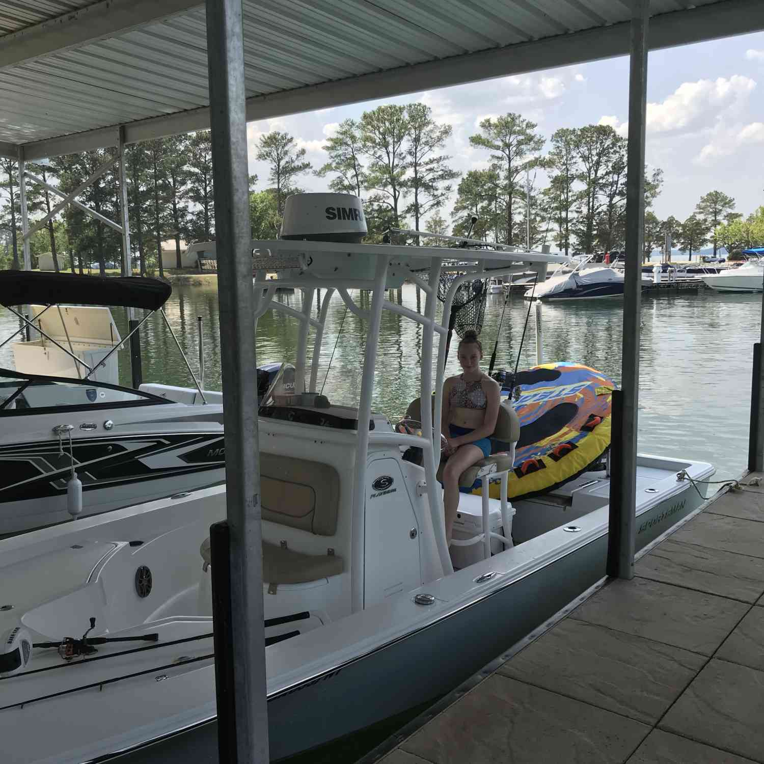 Title: A day on the lake - On board their Sportsman Masters 227 Bay Boat - Location: Augusta Georgia. Participating in the Photo Contest #SportsmanMay2018