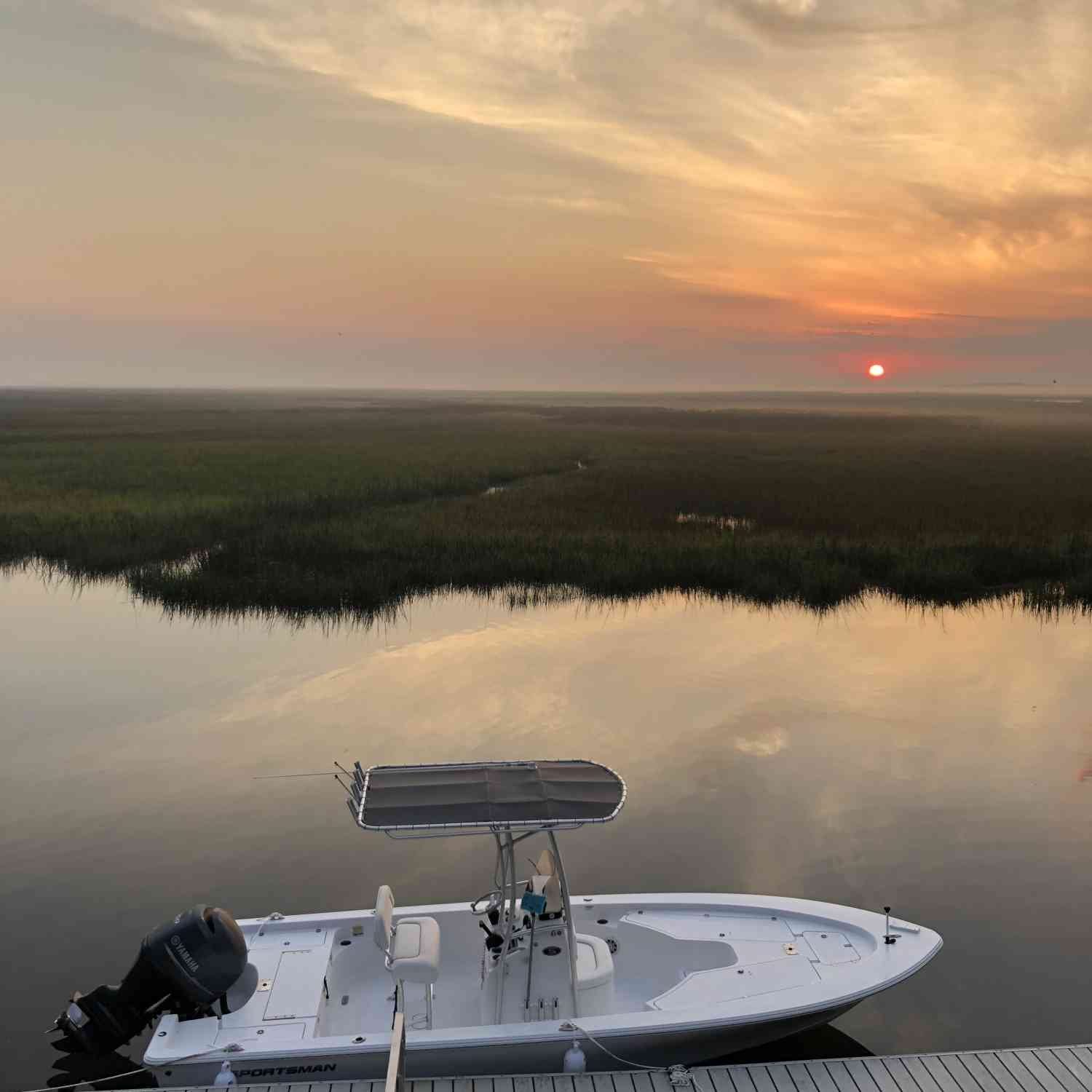 Title: Sunset - On board their Sportsman Masters 227 Bay Boat - Location: Hird Island Georgia. Participating in the Photo Contest #SportsmanMay2018