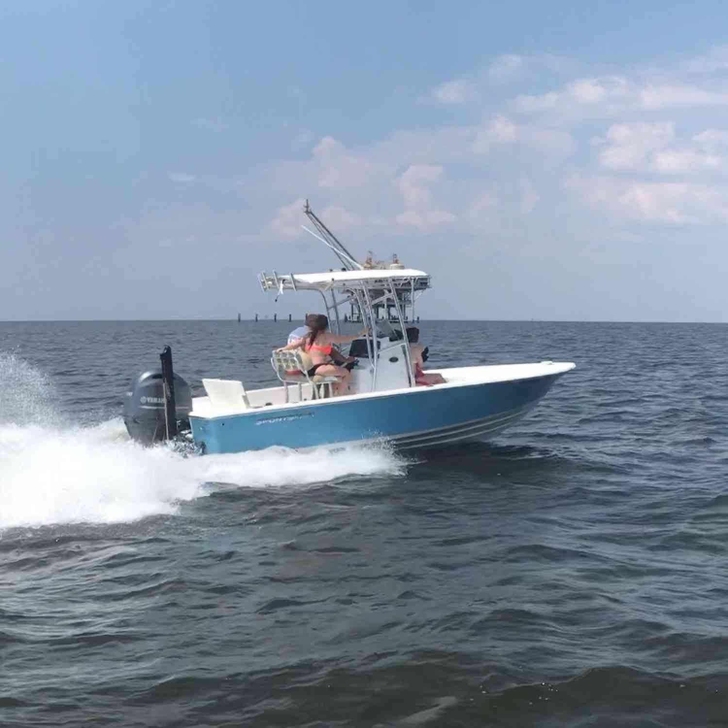 Title: Wide open - On board their Sportsman Masters 227 Bay Boat - Location: Dauphin Island, AL. Participating in the Photo Contest #SportsmanMay2018
