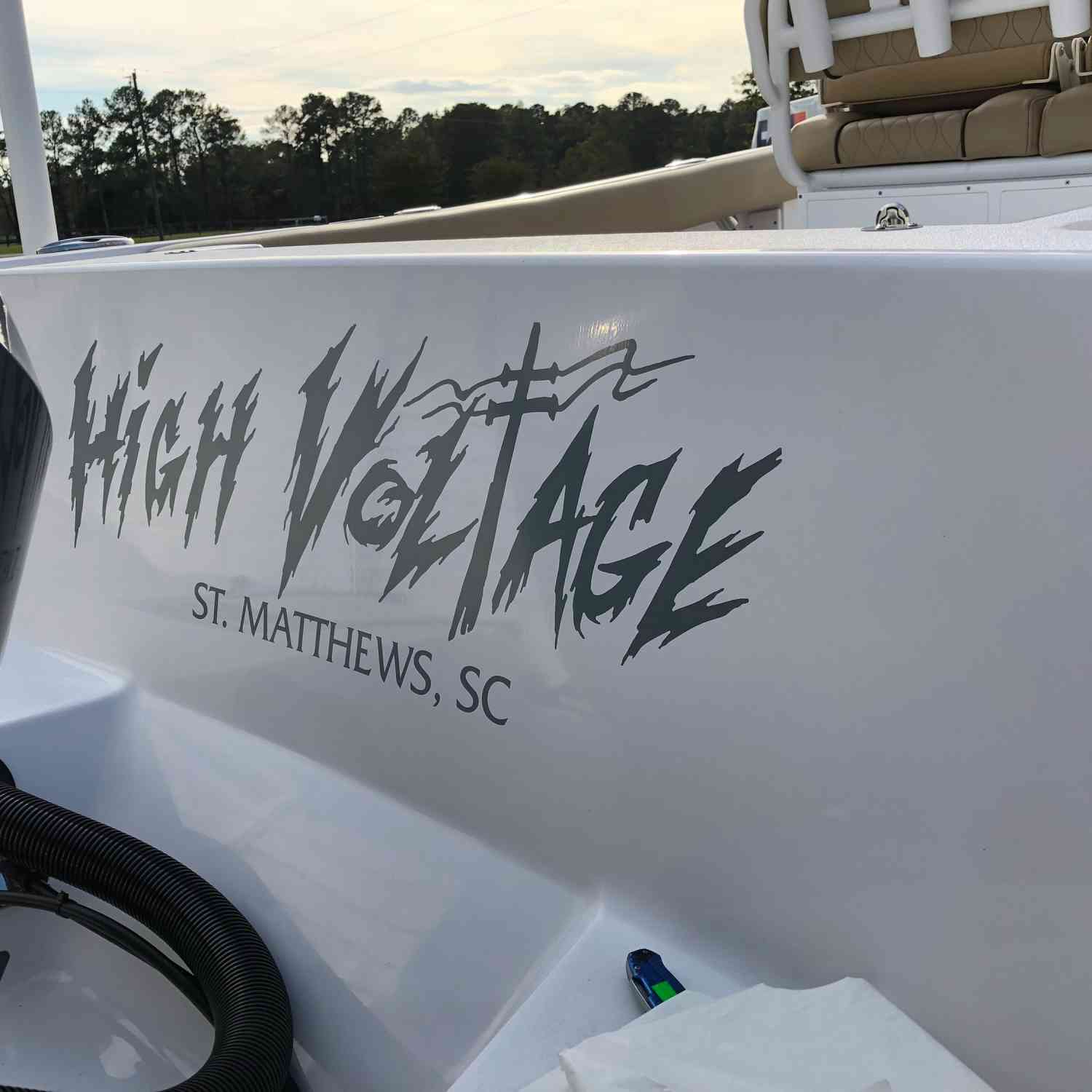 Title: Finally got the name on! - On board their Sportsman Open 232 Center Console - Location: St.Matthews SC. Participating in the Photo Contest #SportsmanNovember2018