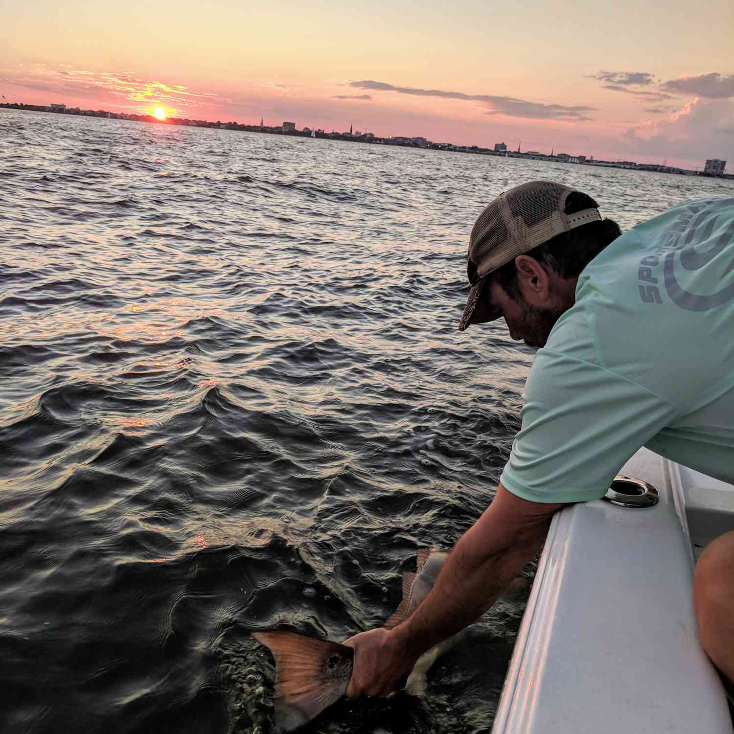 Title: Sunset Release - On board their Sportsman Masters 207 Bay Boat - Location: Charleston, SC. Participating in the Photo Contest #SportsmanOctober2018