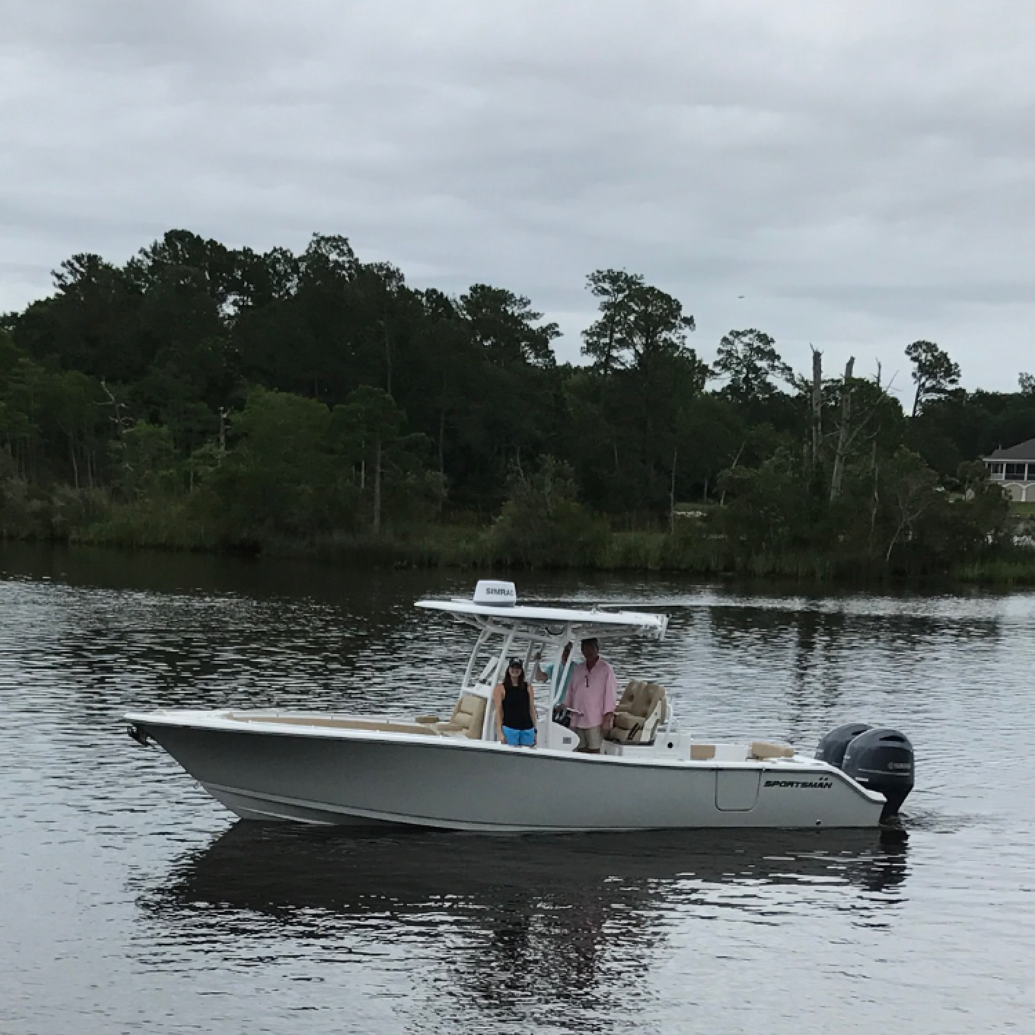 Title: First Trip - On board their Sportsman Open 282 Center Console - Location: Fowl River, Alabama. Participating in the Photo Contest #SportsmanOctober2018