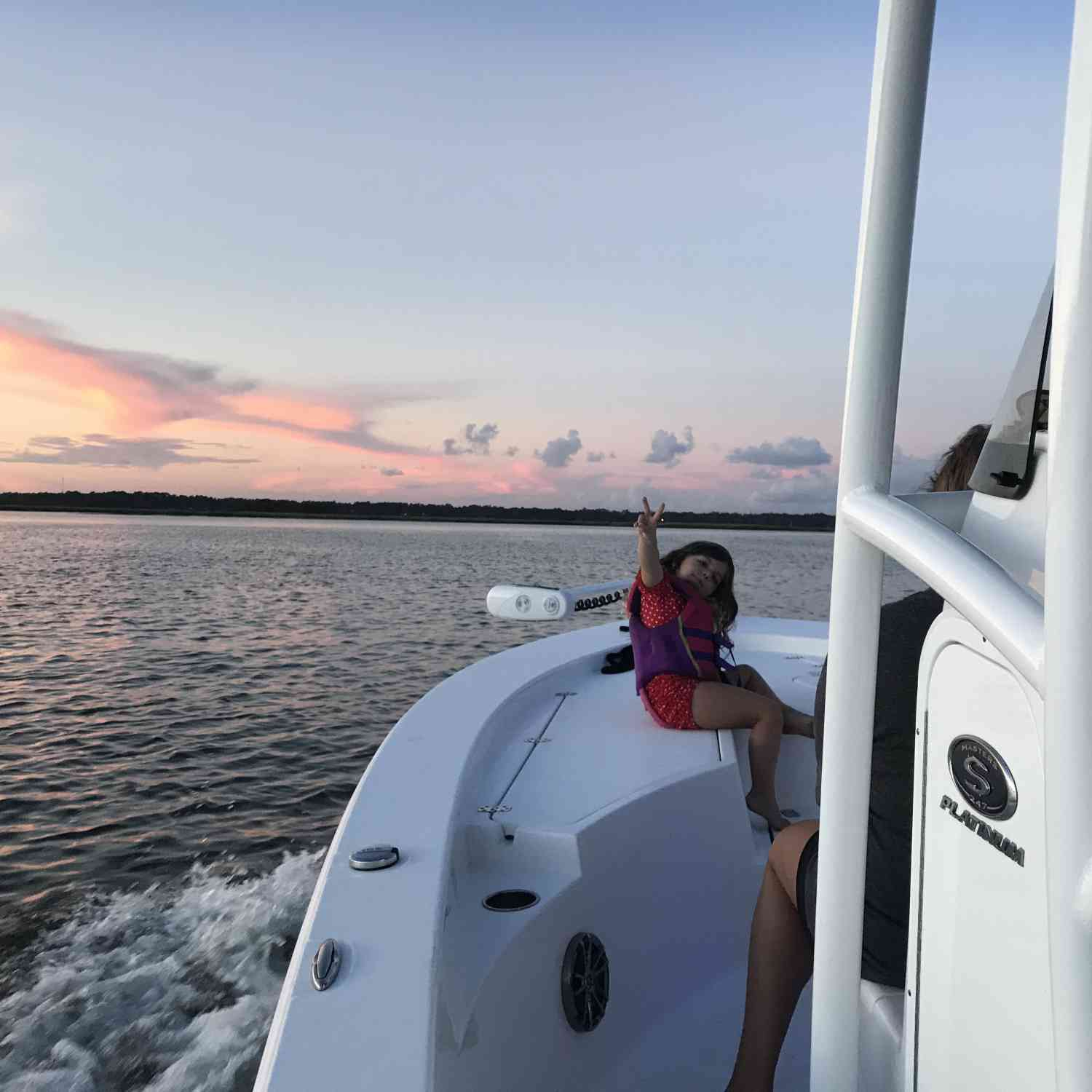 Title: Peace out dude - On board their Sportsman Masters 247 Bay Boat - Location: Myrtle Island, SC. Participating in the Photo Contest #SportsmanSeptember2018