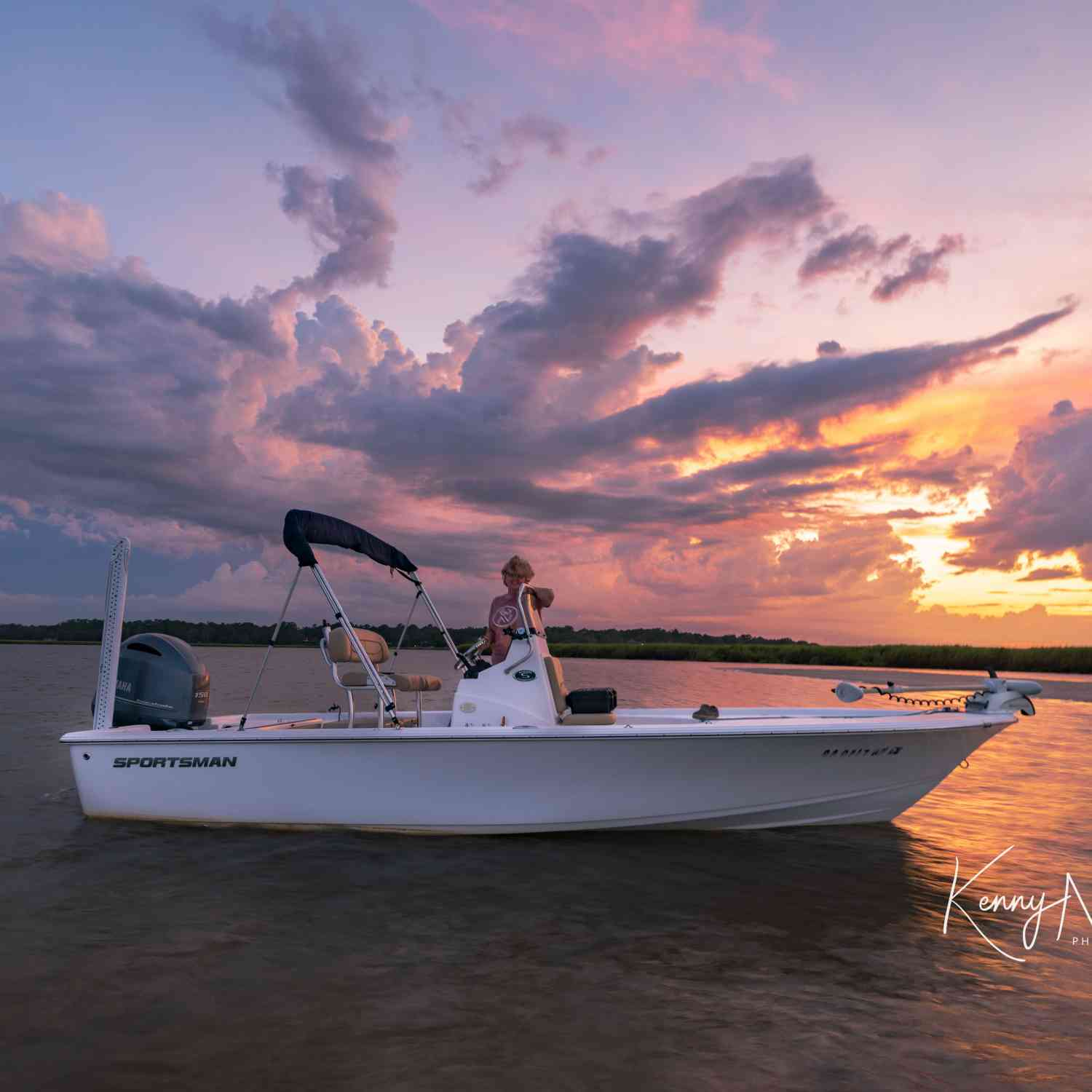Title: Sportsman Sunset - On board their Sportsman Masters 207 Bay Boat - Location: Darien, Georgia. Participating in the Photo Contest #SportsmanAugust2019