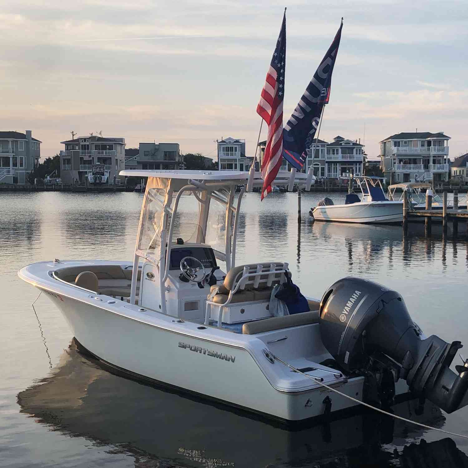Title: Representing Sportsman, our Country and President! - On board their Sportsman Heritage 211 Center Console - Location: Long Beach Island, NJ. Participating in the Photo Contest #SportsmanDecember2019