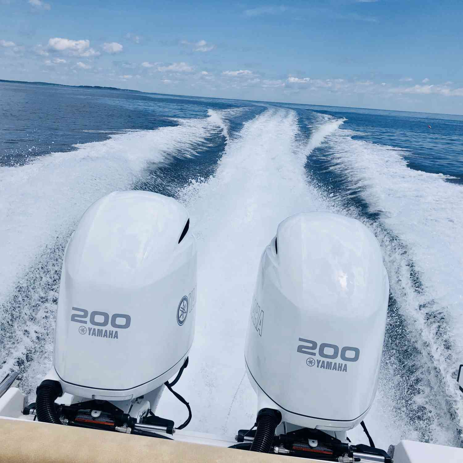 Title: Twin 200s in custom white! - On board their Sportsman Open 252 Center Console - Location: Portland MAINE. Participating in the Photo Contest #SportsmanJuly2019