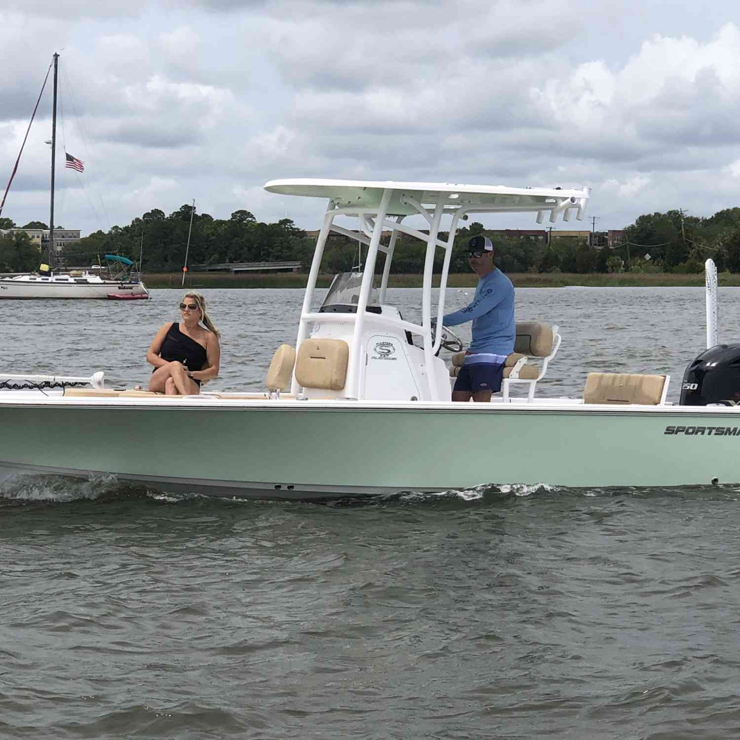 Title: Cruising in the harbor - On board their Sportsman Masters 227 Bay Boat - Location: Charleston, SC. Participating in the Photo Contest #SportsmanJune2019