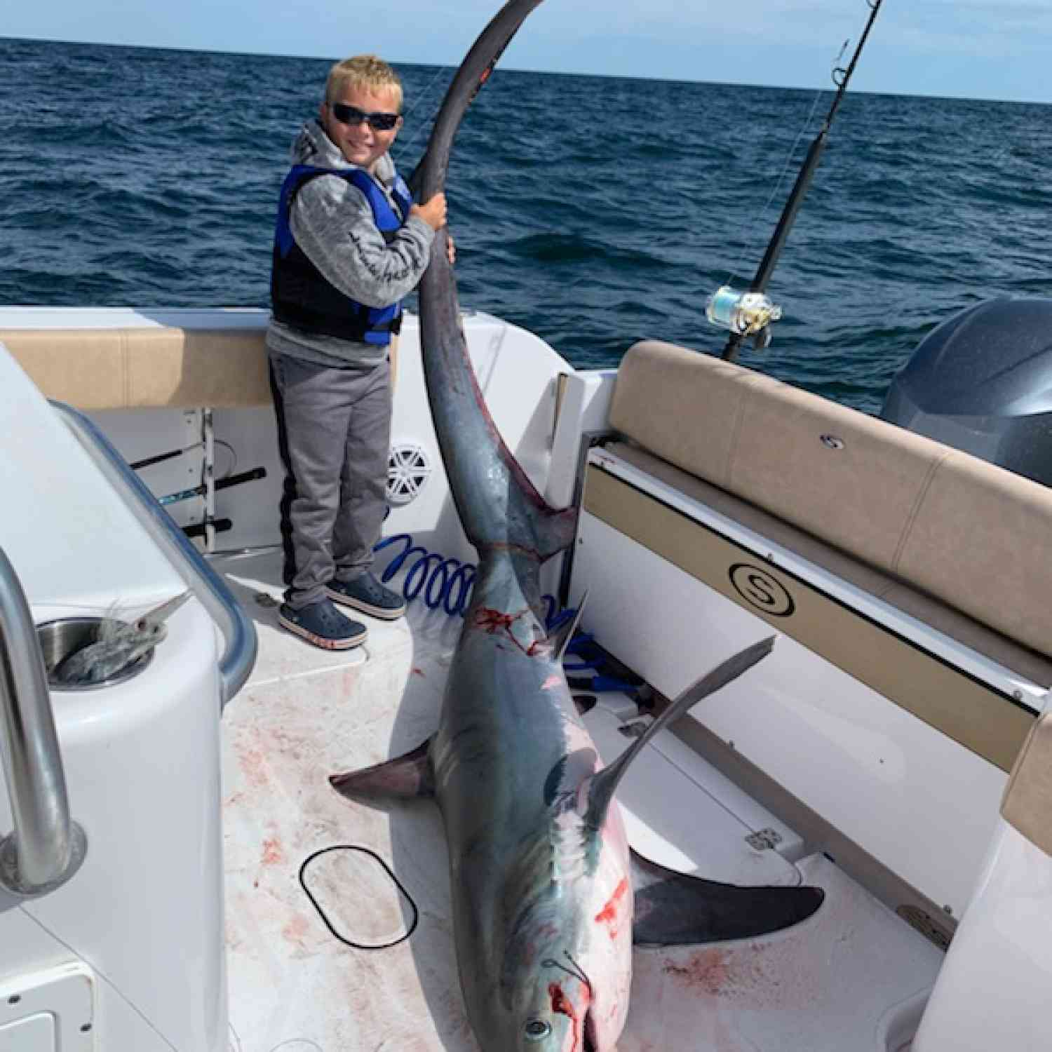 Title: Nate with thresher shark - On board their Sportsman Open 312 Center Console - Location: Montauk. Participating in the Photo Contest #SportsmanSeptember2019